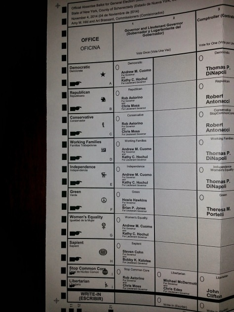 NY state ballot for Governor 2014